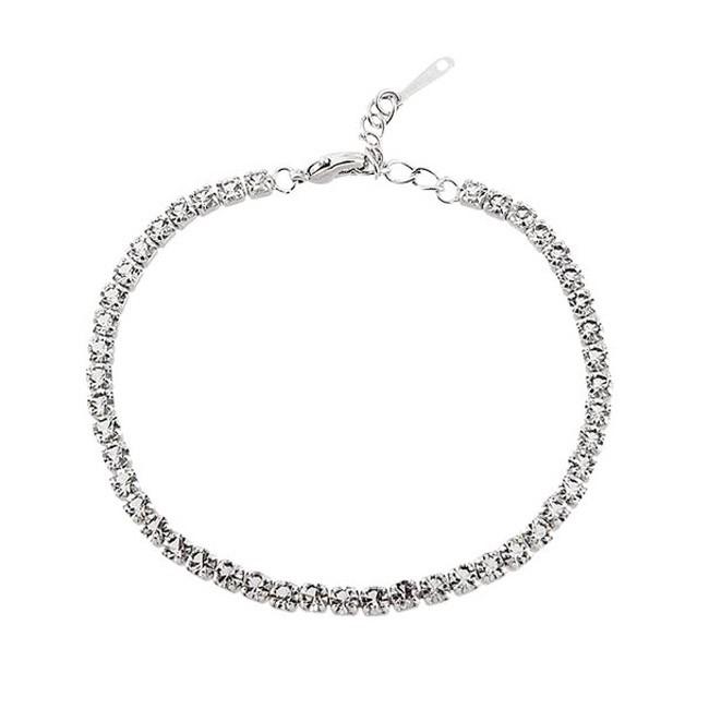 Браслет с кристаллами «Змейка» - цвет серебро
