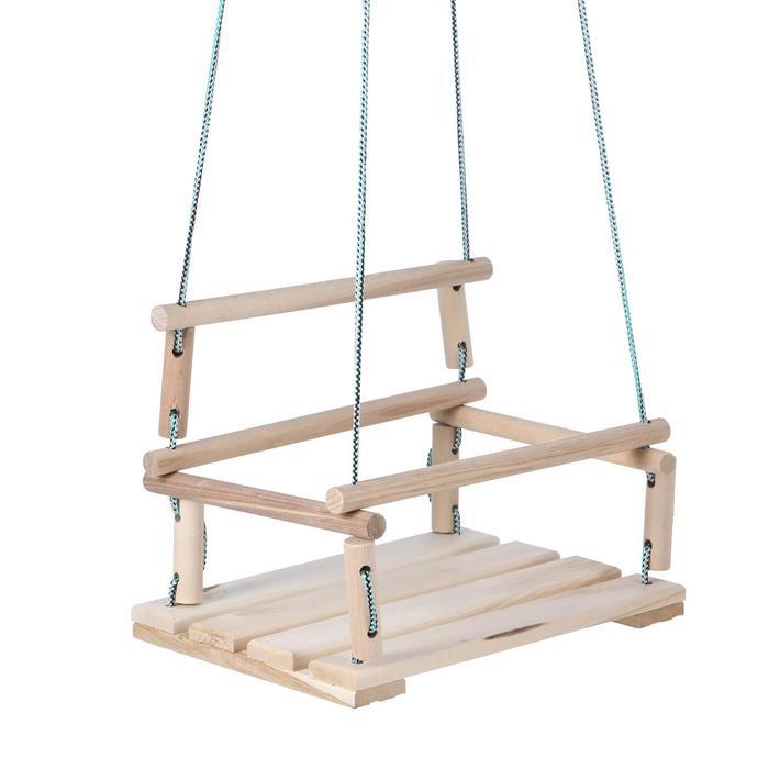 Качели детские подвесные, деревянные, сиденье 30х40 см, Подвижные игры  - купить со скидкой
