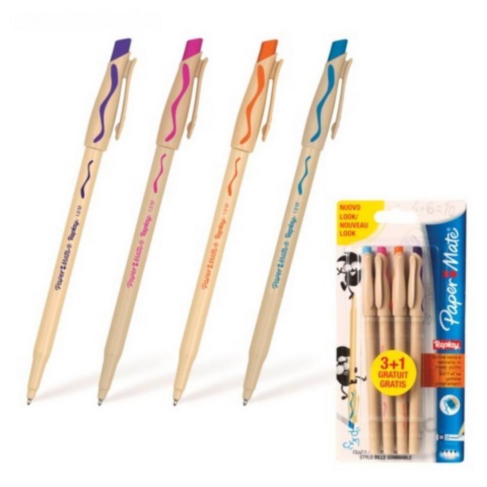 Набор ручек шариковых - пиши-стирай, 4 цвета paper