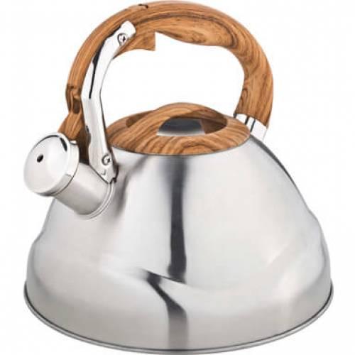 Чайник металлический Bekker Premium 3 литраЧайники металлические<br>Чайник Bekker оборудован свистком для определения закипания воды и изготовлен из высококачественной нержавеющей стали. Корпус из данного материала долговечен, не подвергается коррозии и обладает антиаллергенными свойствами. Ручка модели фиксированная. Она изготовлена из металла и покрыта силиконом, за счет чего удобно ложится в ладонь. На ней находится механизм открытия носика-свистка.<br>