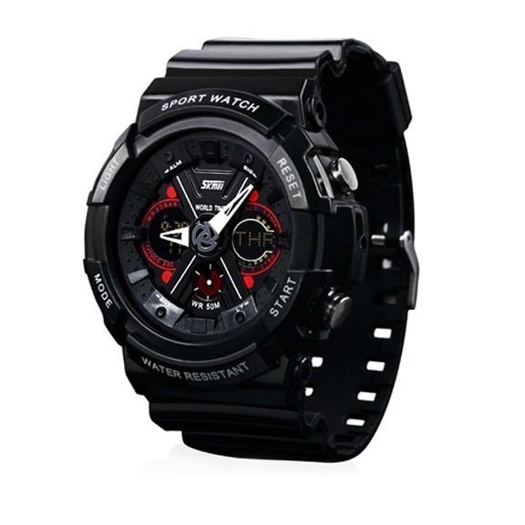 Брутальные спортивные часы Skmei 0966Спортивные LED часы<br>Часы молодежной линейки для спортивного стиля и casual одежды. Имеют аналоговый и цифровой дисплей. Кварцевый механизм, оснащен дополнительными функциями: будильник, таймер, секундомер, календарь. Водонепроницаемые, выдерживают давление в 3 атмосфер при погружении под водой.<br>