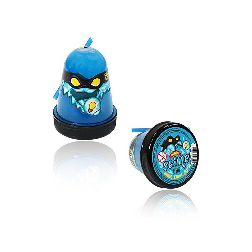 Купить Лизун Slime Ninja, светится в темноте, 130 г, синий, Игрушки Антистресс