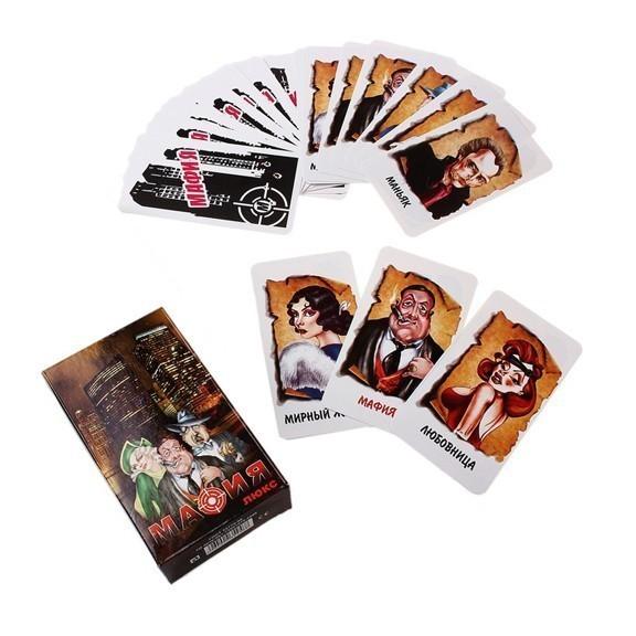 Набор карт для игры Мафия - ЛюксНастольные игры<br>Игра Мафия Люкс - настольная психологическая ролевая игра. Командная пошаговая игра с детективным уклоном. Игра разделена на 2 периода - день и ночь. Днем мирные жители вычисляют мафию, а ночью мафия убивает мирного жителя.<br>