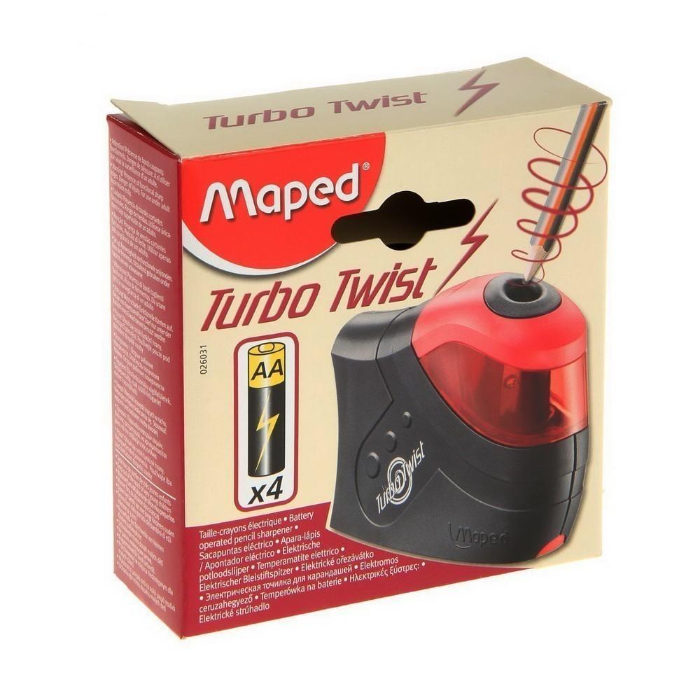 Точилка электрическая для карандашей TURBO TWIST, черно-красный, пластикКанцелярские товары<br>Как наточить карандаши идеально ровно и быстро? Правильный ответ на этот вопрос вам предоставит электрическая точилка для карандашей TURBO TWIST. Это – полезный аксессуар как для офисного работника, так и для взрослого школьника, у которого каждая минута на вес золота!<br>