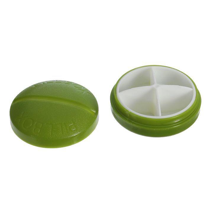 Таблетница круглая - 4 секции, цвет микс