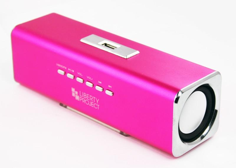 Колонки портативные «LP» K-101 Розовые (Металл+3,5 мм+USB+microSD+заменяемый АКБ+FM радио) (коробка)