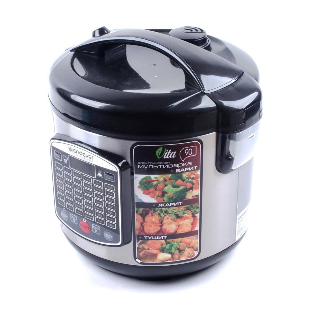 Мультиварка электрическая Endever Vita 90, 5лМультиварки<br>Мультиварка Endever Vita-90 с объемом чаши в 5 л может стать вашим основным помощником на кухне на долгое время. Представленная модель обладает 42 программами автоматического приготовления, среди которых имеются рецепты простых и сложных блюд.<br>