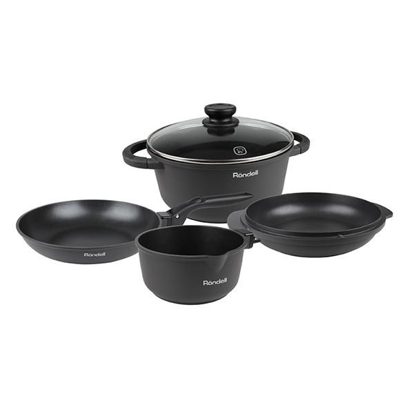 Набор посуды: кастрюля, сковорода, сотейник, стеклянная крышка, ковш RDA-563Сковороды<br>Набор посуды Rondell RDA-563 The One состоит из кастрюли, сотейника, ковша и сковороды. Из названия набора понятно, что этого универсального комплекта достаточно для того, чтобы готовить любую еду.<br>