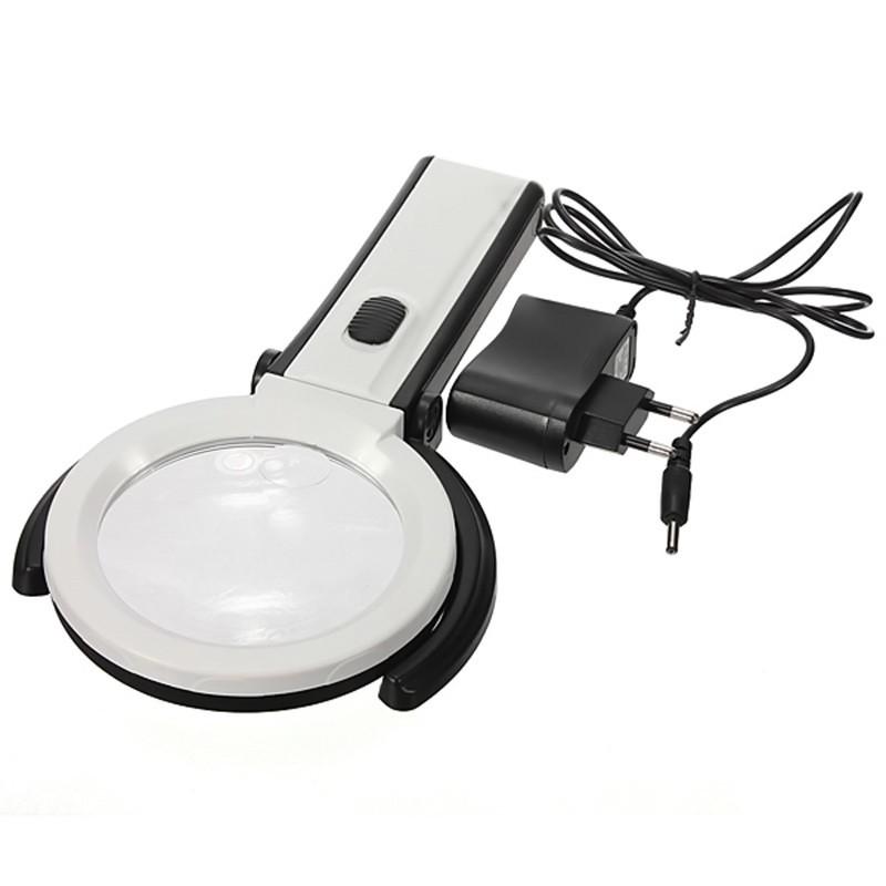 Настольная лупа-лампа 10 LED складная для чтения и рукоделия увеличение, ,