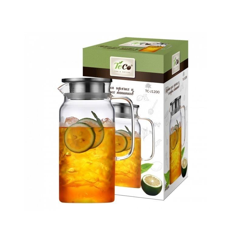 Кувшин для горячих и холодных напитков TC - J1200, 1200 мл c крышкой, стекло