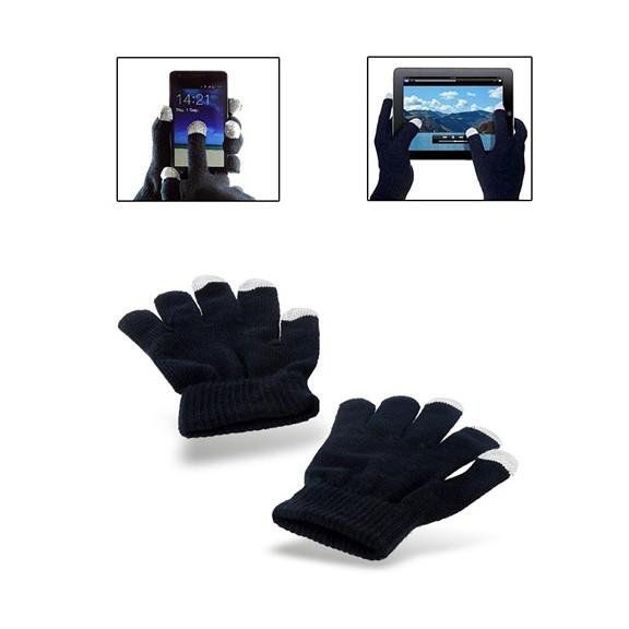 Перчатки для сенсорных экранов - черные, 3 пальцаПерчатки для сенсорных экранов<br>Благодаря не царапающему токопроводящему материалу, вплетенному в кончики пальцев этих теплых, перчаток, Вы сможете не только сохранить руки в тепле, но и одновременно использовать все функции емкостных сенсорных экранов.<br>
