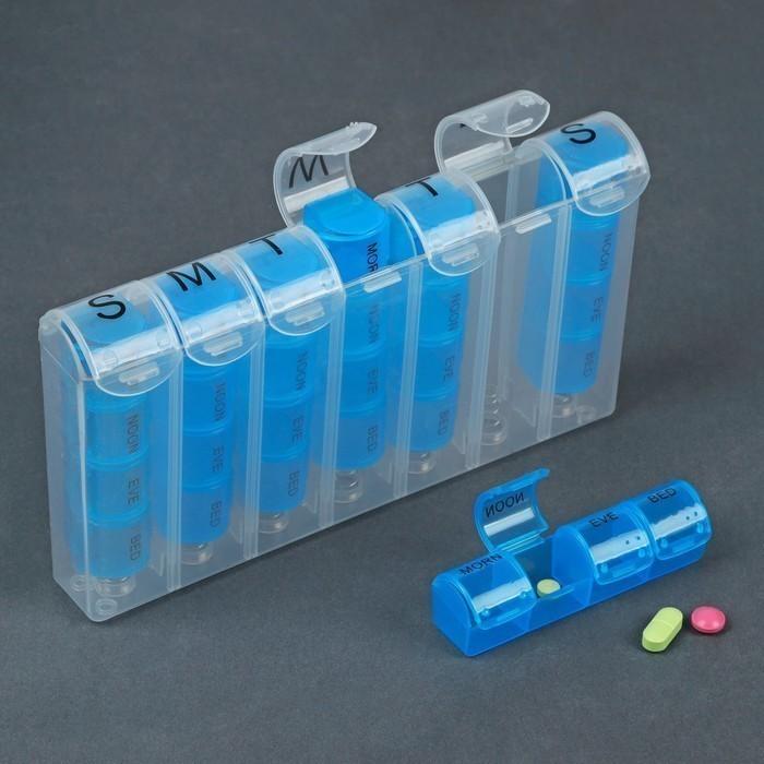 Таблетница-органайзер - Неделька, английские буквы, утро-день-вечер-ночь, 7 контейнеров по 4 секции, цвет голубой фото
