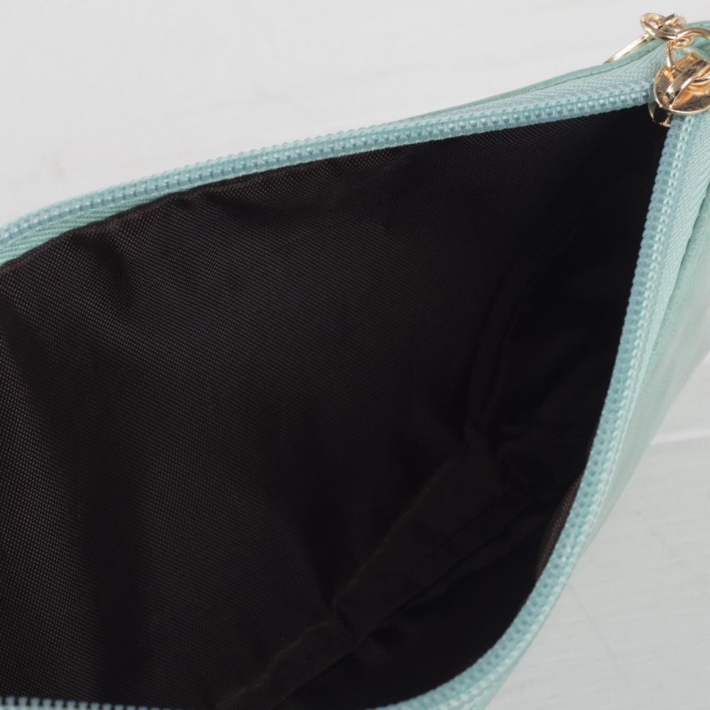 Клатч женский, отдел на молнии, длинный ремень, цвет в ассортименте, мятный