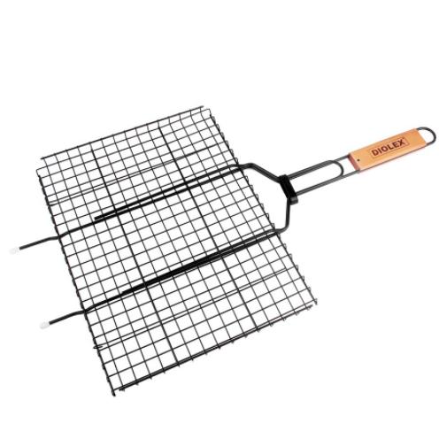 Решетка-гриль DIOLEX, 35*26 см, сереброПикник на природе<br>Решетка-гриль DIOLEX DX-M1214, 35*26 см. Конструкция надежно удерживает продукты внутри. Решетка легко разбирается и моется. Широкое обжимное кольцо на ручке предотвращает самопроизвольное раскрытие.<br>