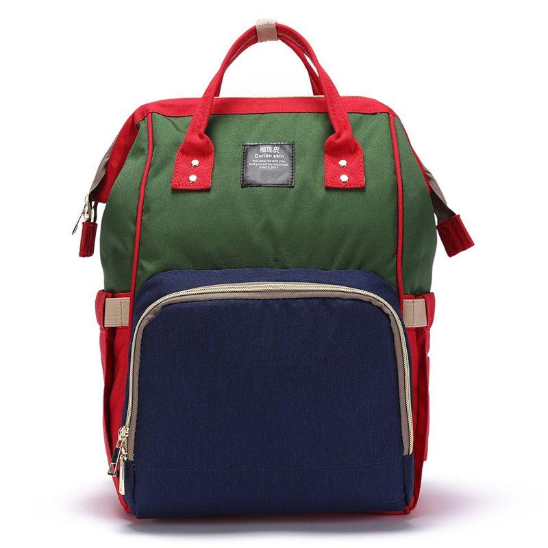 Сумка-рюкзак для мамы Baby Mo с USB, цвет в ассортименте, красно-зелёный