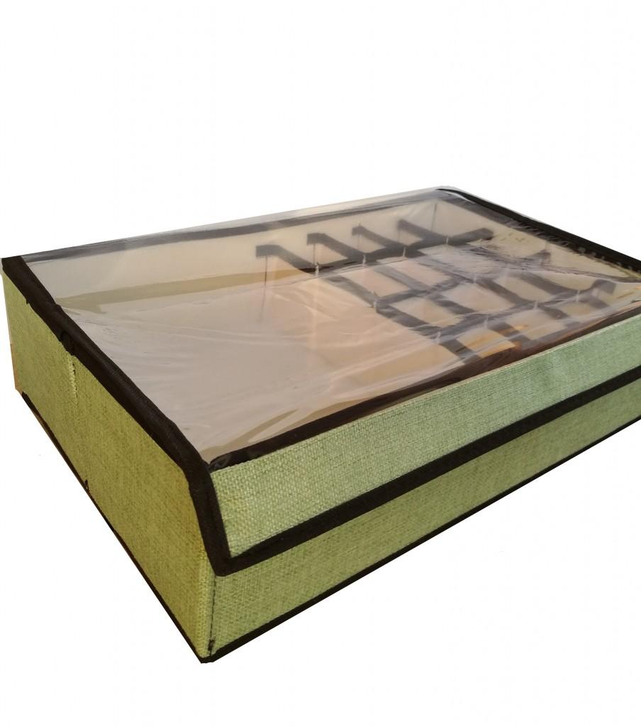 Короб для хранения носков и нижнего белья с ячейками, 44х27х11 см, зелёный