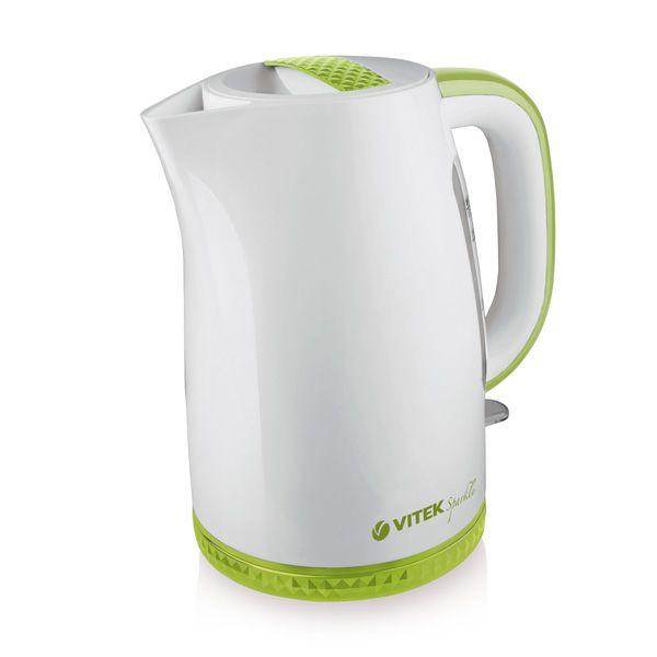 Чайник Vitek VT-1175 G VT-1175(G)Электрочайники и термопоты<br>Электрический чайник VT-1175 G – это удивительное сочетание стиля и функциональности. С корпусом, выполненным из белоснежного высококачественного пищевого пластика с вставками нежного зеленого цвета чайник наполнит атмосферу вашей кухни теплом и уютом. Актуальный объем чайника 1,7 литра вместе с мощностью 2200 Вт позволят в считанные минуты вскипятить воду для любимых горячих напитков. Скрытый нагревательный элемент обеспечит безопасность использования и легкий уход за прибором.<br>