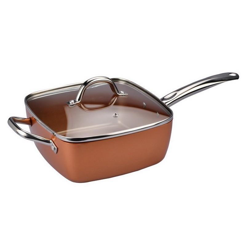 Универсальная сковорода Copper Cook Deep Square PanСковороды<br>Ищете удобную сковороду для приготовления самых разных блюд? Хотите приобрести изделие, которое прослужит очень долго и будет только радовать вас? Обязательно обратите внимание на модель Copper Cook Deep Square Pan, которая уже покорила сердца сотен представительниц прекрасного пола и профессиональных шеф-поваров!