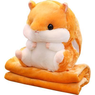 Плед-подушка хомяк 3 в 1, оранжевый