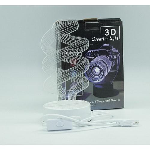 3D светильник Спираль-2, высота 25 смНочники и настольные лампы<br>Световая иллюзия и настоящее волшебство теперь будет украшать любую вашу комнату! 3D светильник Спираль-2 свиду похож на обычный акриловый лист. Но как только вы включите устройство, станете свидетелем магии!<br>