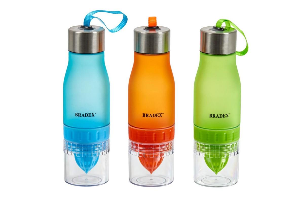 Бутылка для воды с соковыжималкой 0,6 л, оранжевый
