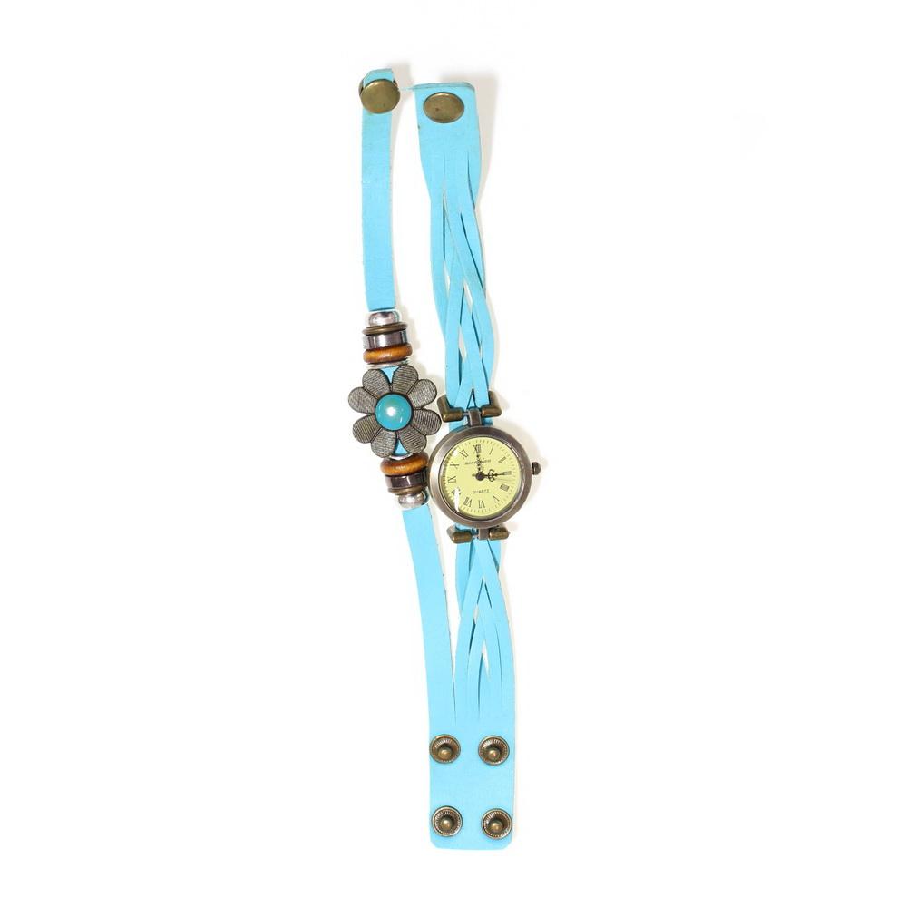 E-LY часы браслет с вставкой в виде цветка, Голубой