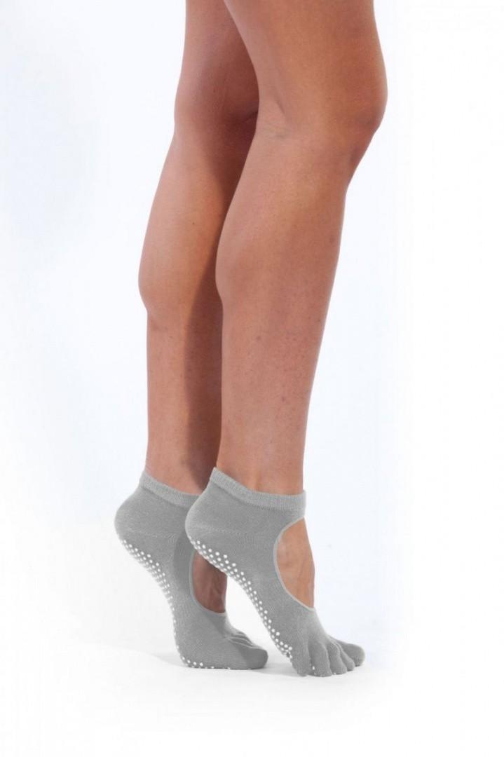 Носки противоскользящие для занятий йогой c открытым подъёмом, фиолетовый
