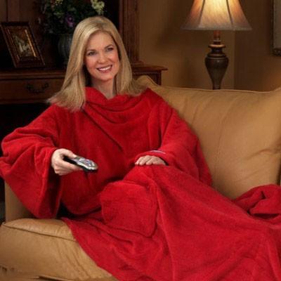 Плед с руковами Snuggie (Снагги) красный (розовый)Подушки и пледы<br>Рукава у пледа – это практично? Еще как! Длинные свободные рукава согреют до кончиков пальцев, пока вы держите чашку чая или читаете книгу. Одеяло полностью закрывает грудь, шею, плечи и не пропускает малейший прохладный сквозняк.<br>