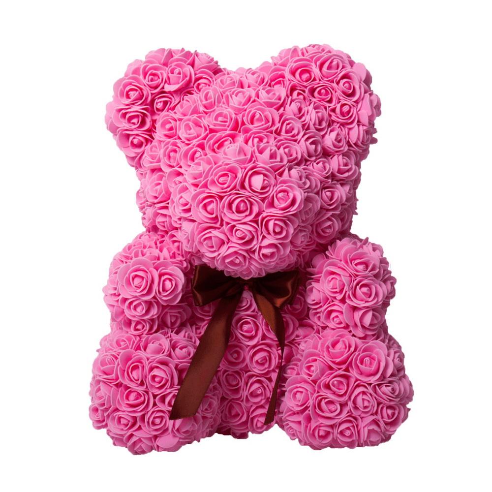 Мишка из роз с ленточкой (40 см), Розовый фото