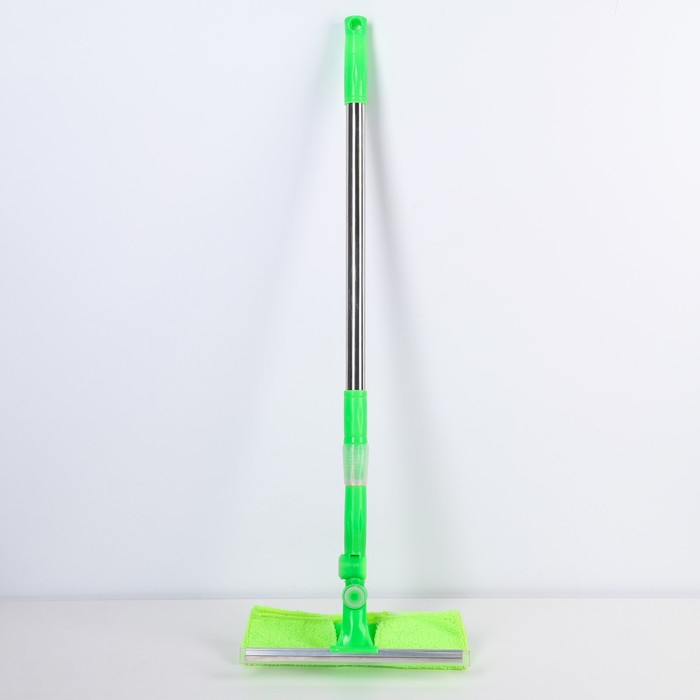 Окномойка с телескопической стальной ручкой, 25х64(93) см, цвет зелёный