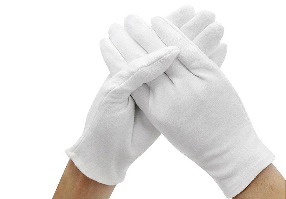 Перчатки хлопковые, белые, L