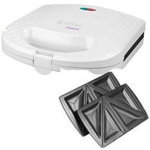 Сэндвичница VitekТостеры и сэндвичницы<br>Сэндвичница Vitek 1599(W) - это отличный компактный прибор для быстрого приготовления ароматных горячих бутербродов. Для наилучшего пропекания в конструкции реализован равномерный прогрев рабочей поверхности с антипригарным покрытием.<br>