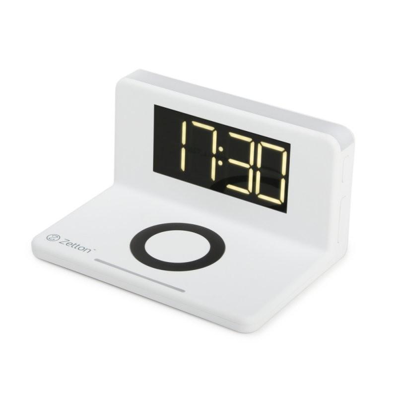 Беспроводное зарядное устройство Zetton часы будильник ночник (ZTSY-W0241QI10WACWRU) белое