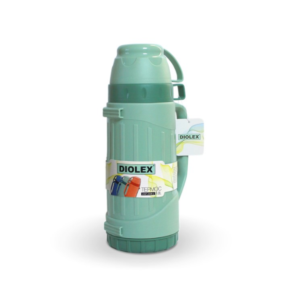 Термос DIOLEX пластиковый со стеклянной колбой 1000 мл.зеленыйТермосы<br>Высококачественный вместительный термос, который очень удобен для каждого, кто ведет динамичный образ жизни, а также любит походы и поездки на пикники.<br>