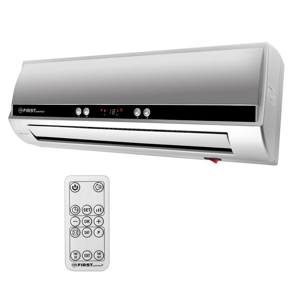 Тепловентилятор настенный FIRST 5571-8-GR, 1000 Вт/2000 Вт, керамический, холодный воздух, LCD-дисплей, ДУ