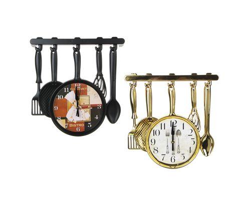 Часы настенные в форме столовых приборов, золотой