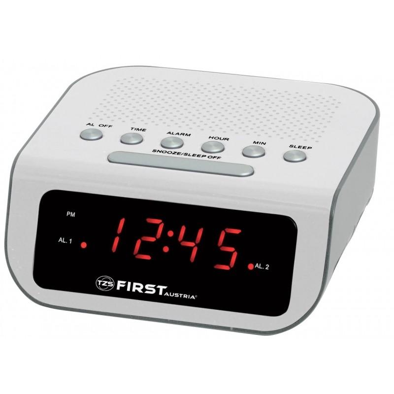 Радиочасы FIRST, 0.6 LED красный, AM/FM, кварц., будильник, белыйРадиочасы и будильники<br>First FA-2406-1-BA - радиочасы с LED-дисплеем диагональю 0,6 дюйма. Устройство имеет кварцевый стабилизатор, а также дополнительные функции: подъем под музыку или звонок, отключение музыки. Вы также можете активировать отложенный сигнал чтобы поспать еще немного времени. Будильник отключится и прозвенит через 9 минут.<br>