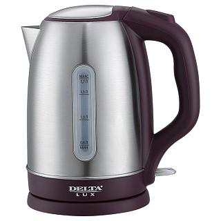 Чайник электрический DELTA LUX DL-1335 нерж., фиолетовый , с ОКНОМ : 2200Вт, 1.7л (12)