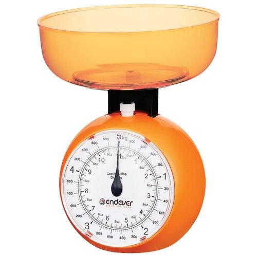 Кухонные механические весы Endever. Максимальный вес 5 кг, цена деления 40 г, оранжевые