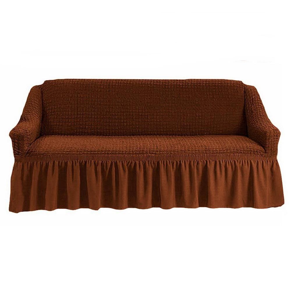 Чехол на диван универсальный на резинке, Шоколад