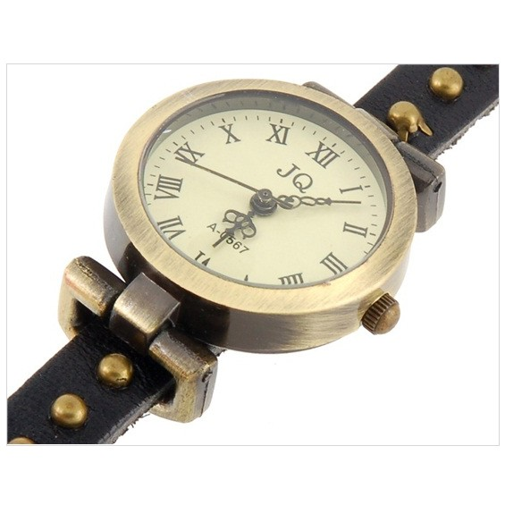 Часы браслет эко-кожа - 3 петли - Rivet, Черный