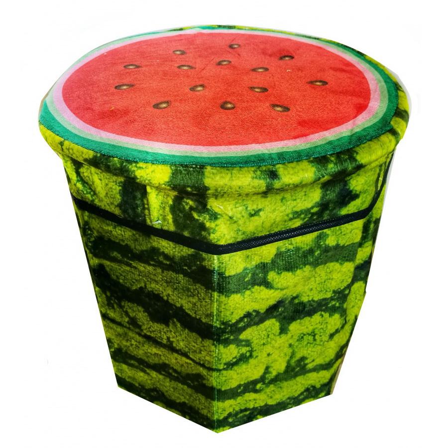 Складной пуфик-контейнер 2 в 1, 31х30 см, арбуз