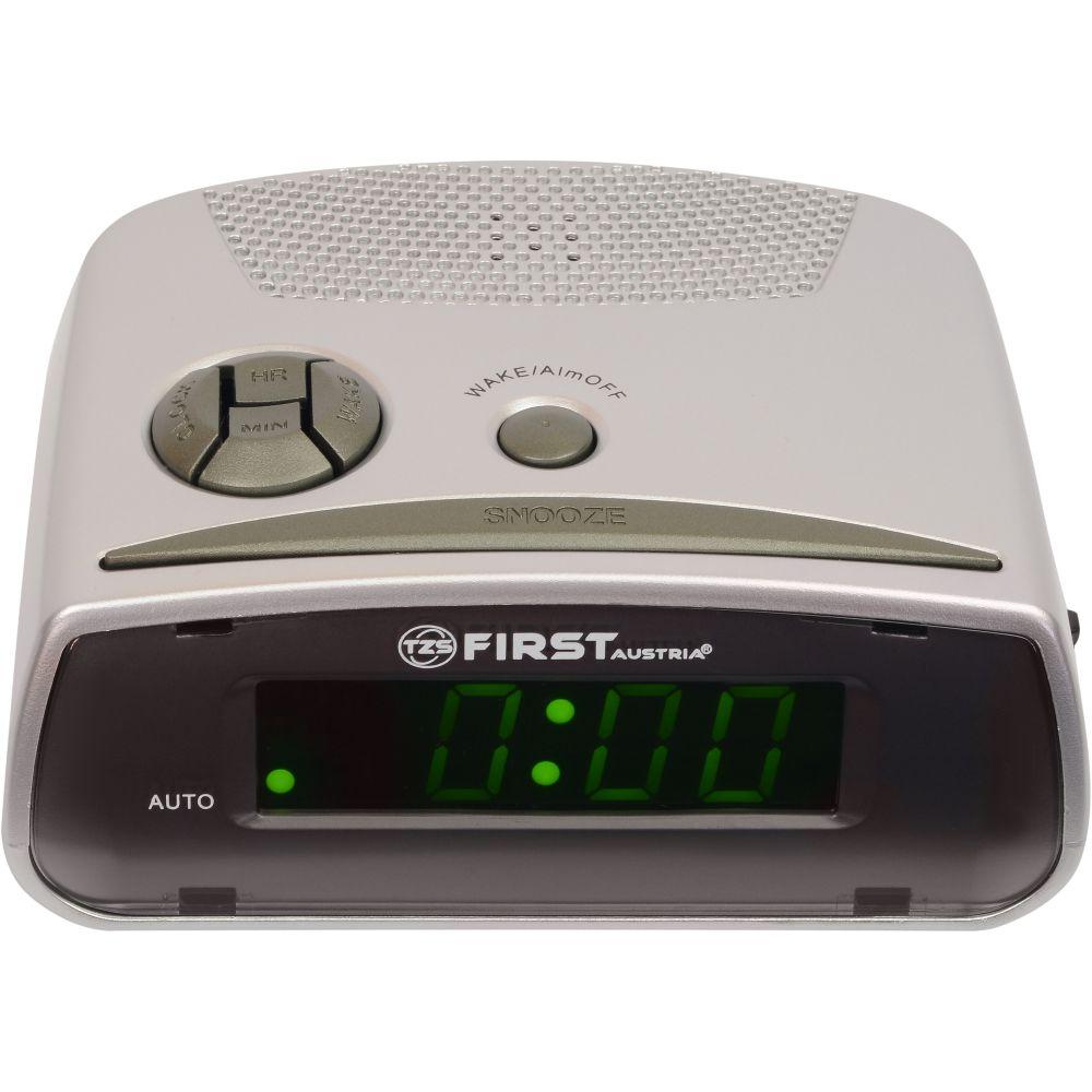 Часы электронные FIRST, 0.6 LED зеленый, кварц., будильникРадиочасы и будильники<br>First FA-2410 - цифровой будильник с LED-дисплеем диагональю 0,6 дюйма. Устройство изготовлено из качественных материалов и позволит вам просыпаться вовремя без риска опоздать куда-либо. Вы также можете активировать отложенный сигнал чтобы поспать еще немного времени. Будильник отключится и прозвенит через 9 минут.<br>