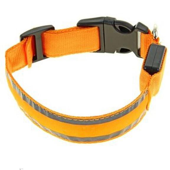 Светящийся ошейник со светоотражателем - 45-50 см, оранжевыйСветящиеся ошейники<br>Если Вас немного пугают прогулки в ночное время суток с собакой, то настоятельно рекомендуем Вам приобрести светящийся ошейник со светоотражателем. Теперь Вы сможете видеть все, что делать питомец на улице и даже спокойно отпустить его побегать!<br>