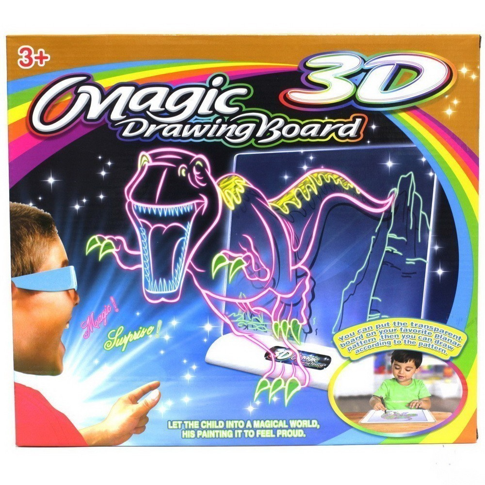 Магическая 3D-доска для рисования Magic Drawing BoardТовары для творчества<br>Хотите привлечь ребенка не банальными игрушками, а полезными? Магическая 3D-доска для рисования Magic Drawing Board станет настоящей находкой, поскольку поспособствует развитию творческих навыков. С первого знакомства с магической доской ваше чадо проникнется процессом, а полученные работы в результате вызовут просто невероятный восторг!<br>