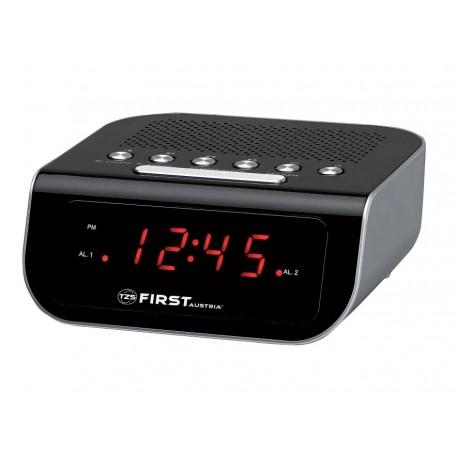 Радиочасы FIRST, 0.6 LED красный, AM/FM, кварц., будильник, черныйРадиочасы и будильники<br>First FA-2406-1-BA - радиочасы с LED-дисплеем диагональю 0,6 дюйма. Устройство имеет кварцевый стабилизатор, а также дополнительные функции: подъем под музыку или звонок, отключение музыки. Вы также можете активировать отложенный сигнал чтобы поспать еще немного времени. Будильник отключится и прозвенит через 9 минут.<br>